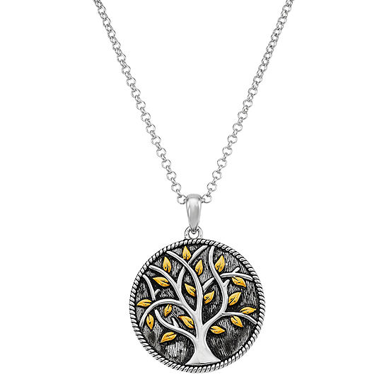 Forever Inspired Womens Sterling Silver Round Pendant Necklace