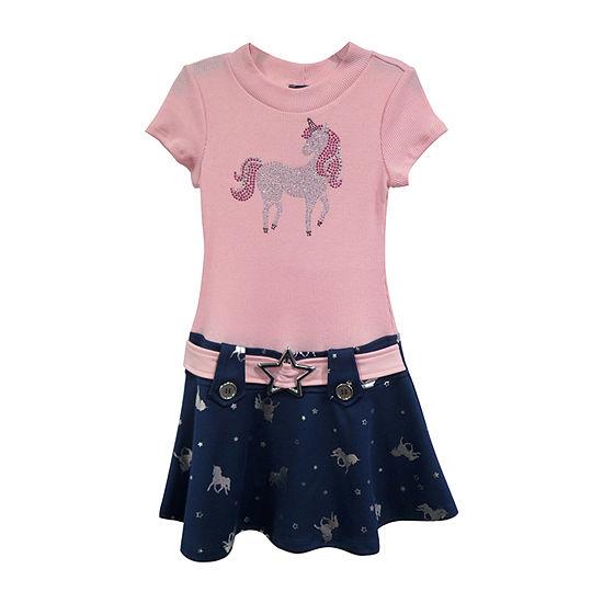 Lilt Girls Short Sleeve Drop Waist Dress - Big Kid