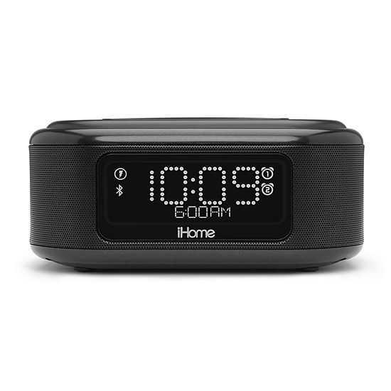 iHome Wireless Charging Bluetooth Dual Alarm Clock with Speakerphone and USB Charging