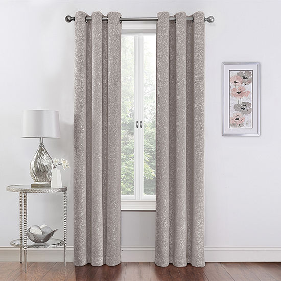 Regal Home Collections Metallic Room Darkening Grommet-Top Curtain Panel (Set of 2)