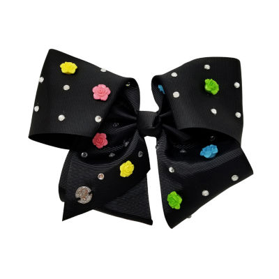 Jojo Siwa Signature Black and Multi Color Roses Bow