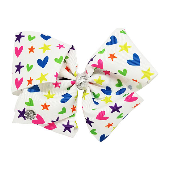 Jojo Siwa Signature White Neon Heart and Star Bow