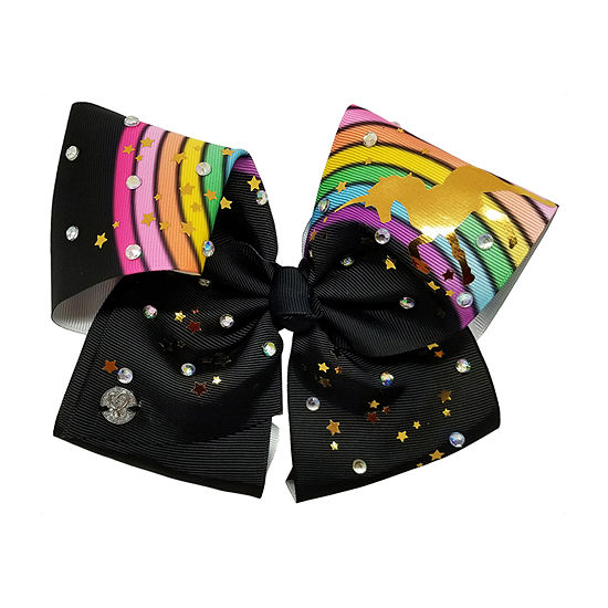 Jojo Siwa Signature Black Rainbow Gold Unicorn Print Bow