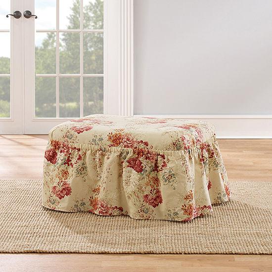 Sure Fit Ballad Bouquet 2pc Ottoman Slipcover
