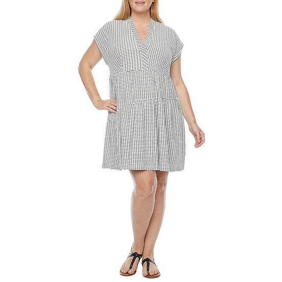 52seven Short Sleeve Gingham Babydoll Dress-Plus
