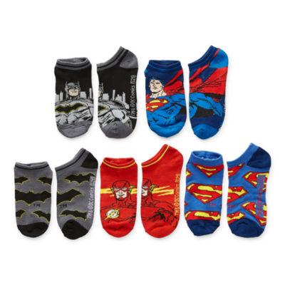 Little & Big Boys 5 Pair Justice League No Show Socks