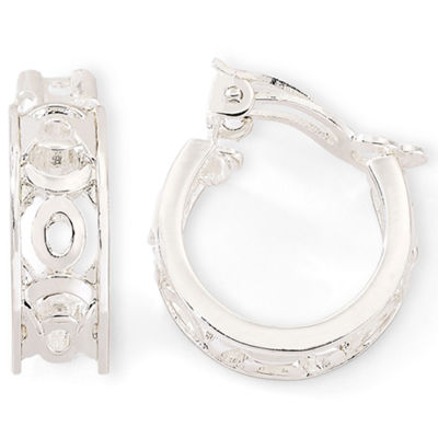 Liz Claiborne® Carved Silver-Tone Clip-On Hoop Earrings