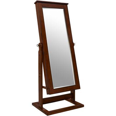 Walnut-Finish Adjustable Full-Length Cheval Mirror & Jewelry Wardrobe