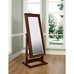 Walnut-Finish Adjustable Full-Length Cheval Mirror & Jewelry Wardrobe