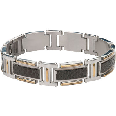 Mens Stainless Steel Two Tone Bracelet