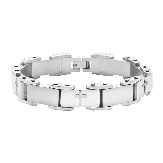 Mens Stainless Steel Cross Bracelet