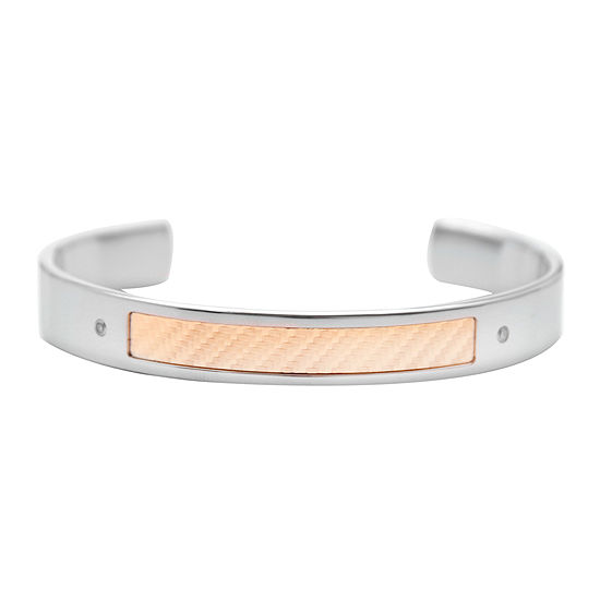 18K Gold and Stainless Steel Diamond-Accent Mens Cuff Bracelet