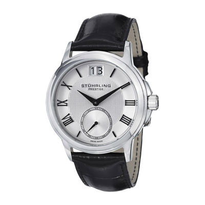 Stührling® Original Mens Alligator-Look Black Leather Strap Watch