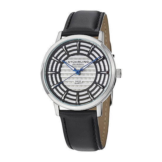 Stuhrling Original Mens Gray Dial Black Leather Strap Watch