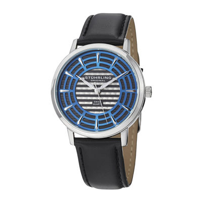 Stührling® Original Mens Blue Dial Black Leather Strap Watch