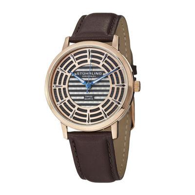 Stührling® Original Mens Rose-Tone Dial Brown Leather Strap Watch