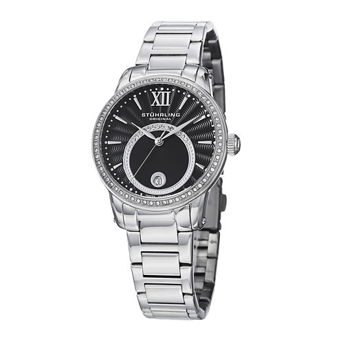 Stührling® Original Womens Crystal-Accent Black Dial Bracelet Watch
