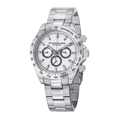 Stührling® Original Mens White Dial Stainless Steel Watch