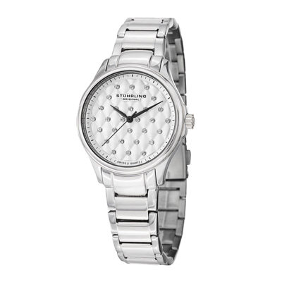 Stührling® Original Womens Crystal-Accent Stainless Steel Bracelet Watch