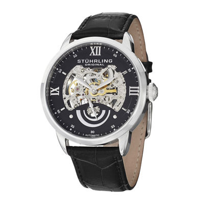 Stührling® Original Mens Black Dial Skeleton Automatic Watch
