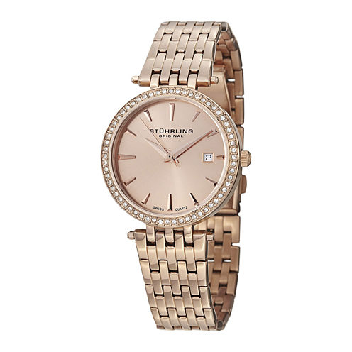 Stührling® Original Womens Crystal-Accent Rose-Tone Stainless Steel Watch