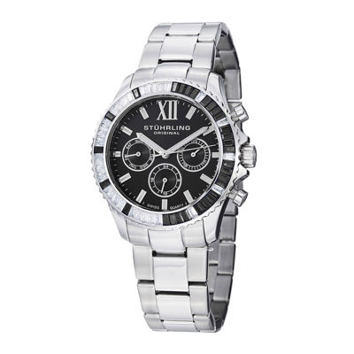 Stührling® Original Womens Crystal-Accent Black Dial Bracelet Watch