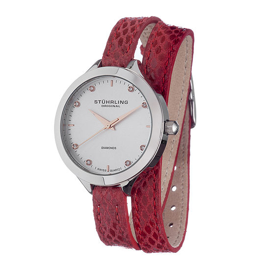 Stührling® Original Womens Diamond-Accent Red Leather Wrap Watch