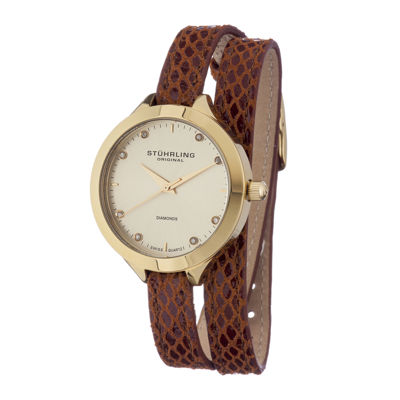 Stührling® Original Womens Diamond-Accent Brown Leather Wrap Watch
