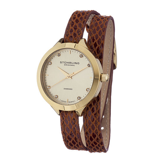 Stuhrling Original Womens Diamond Accent Brown Leather Wrap Watch