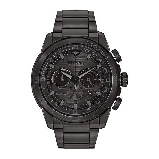 Citizen Ecosphere Mens Chronograph Black Stainless Steel Bracelet Watch - Ca4184-81e