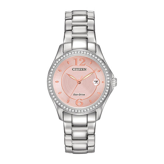 Citizen Eco Drive Silhouette Womens Crystal Accent Pink Dial Watch Fe1140 86x