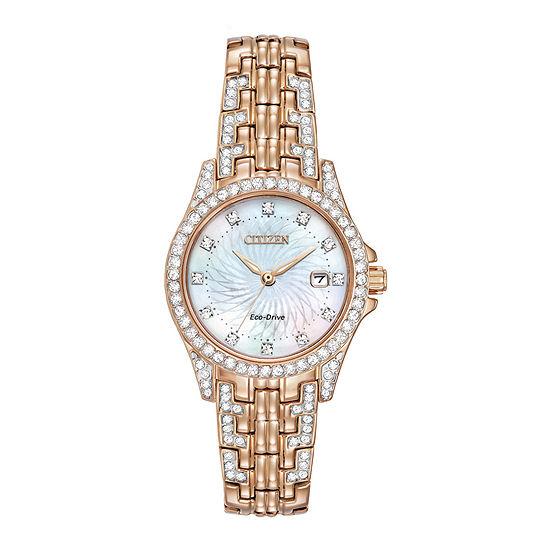 Citizen Silhouette Crystal Womens Rose Goldtone Stainless Steel Bracelet Watch-Ew1228-53d