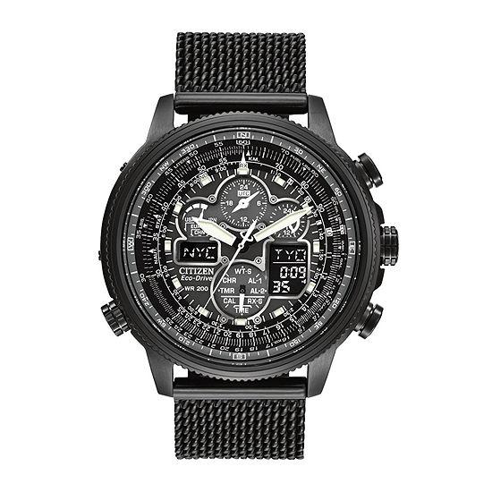 d1c2542cb8e Citizen® Eco-Drive® Navihawk A-T Mens Mesh Strap Chronograph Watch  JY8037-50E