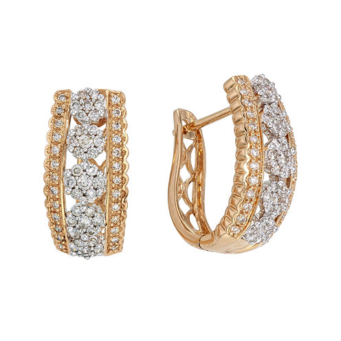 diamond blossom 1 CT. T.W. Diamond 14K Yellow Gold 5-Cluster Hoop Earrings