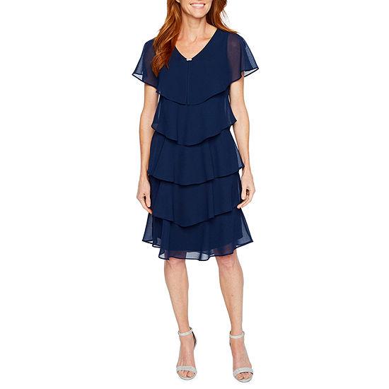 S L Fashions Short Sleeve Embellished Shift Dress Petite