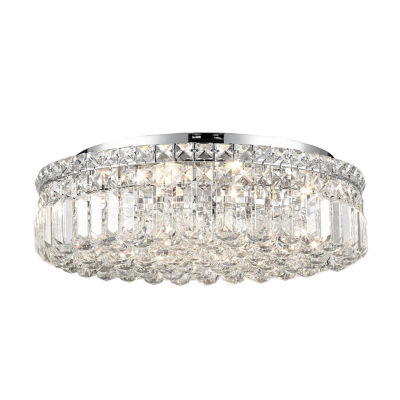 """Cascade Collection 6 Light 5.5"""" Round Chrome Finish and Clear Crystal Flush Mount Ceiling Light"""