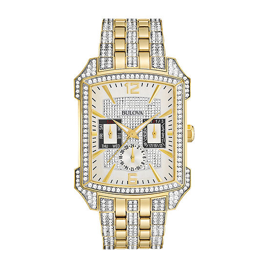 Bulova Mens Two Tone Crystal Accent Watch