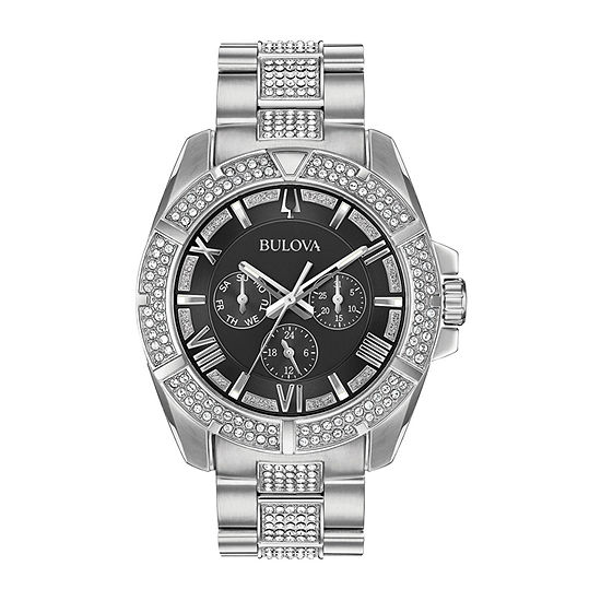 Bulova Octava Mens Crystal Accent Silver Tone Stainless Steel Bracelet Watch - 96c126