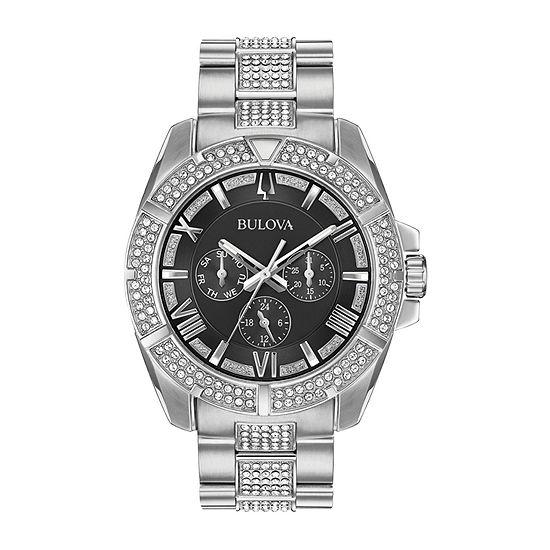 Bulova Octava Mens Crystal Accent Silver Tone Stainless Steel Bracelet Watch-96c126