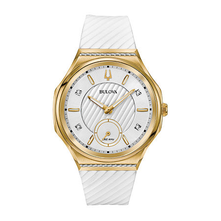 Bulova Curv Womens White Strap Watch 98r237, One Size