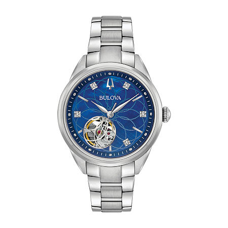 Bulova Sutton Womens Automatic Silver Tone Stainless Steel Bracelet Watch - 96p191, One Size