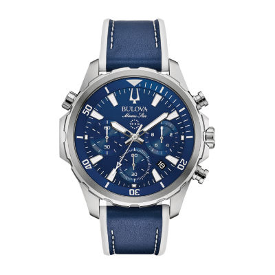 Bulova Mens Blue Strap Watch-96b287