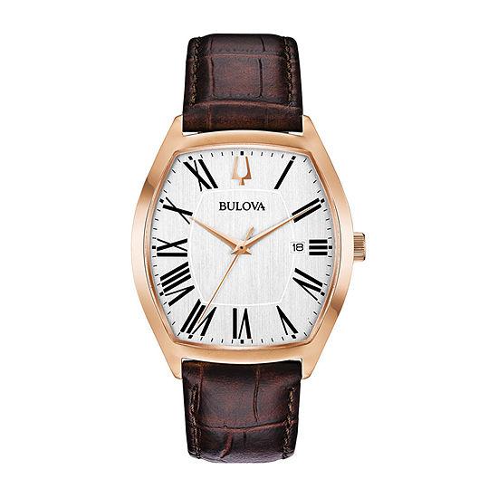 Bulova Ambassador Mens Brown Leather Strap Watch-97b173