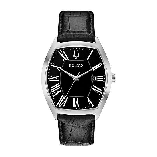 Bulova Ambassador Mens Black Leather Strap Watch-96b290