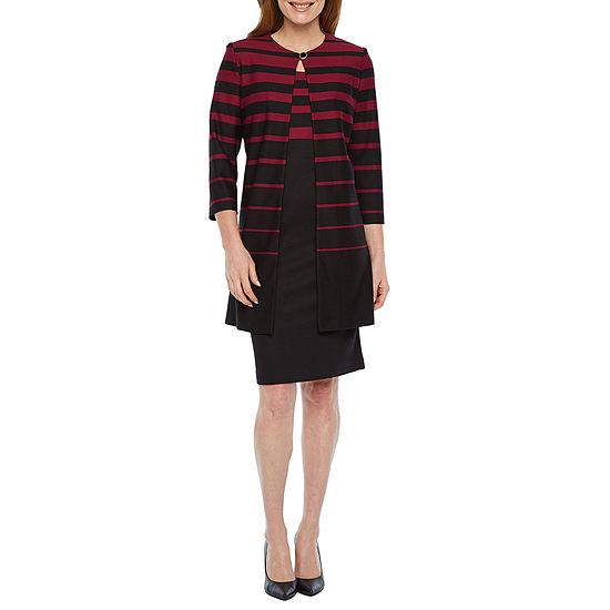Danny & Nicole 3/4 Sleeve Striped Jacket Dress