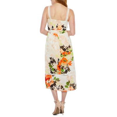 Nicole Miller Sleeveless Floral Fit & Flare Dress