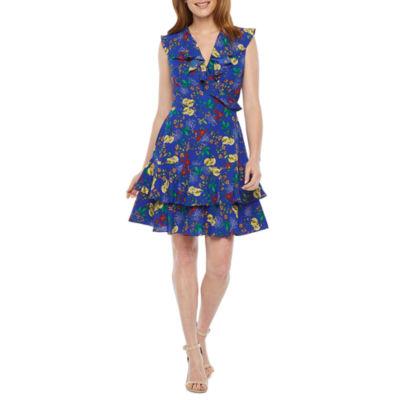 Nicole Miller Flutter Sleeve Floral Wrap Dress