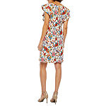 Weslee Rose Short Sleeve Floral Sheath Dress