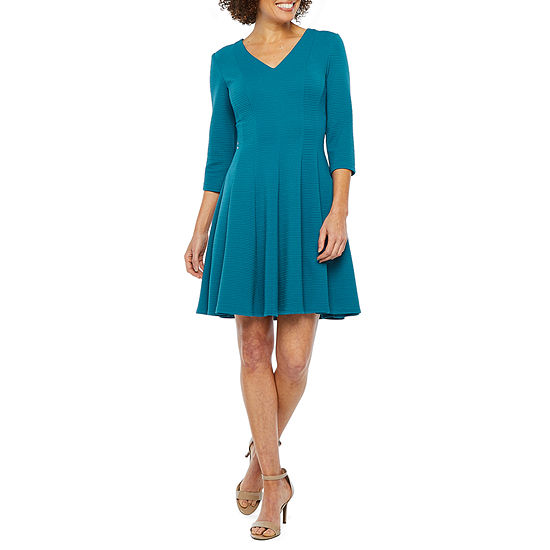 Danny & Nicole 3/4 Sleeve Fit & Flare Dress- Petite