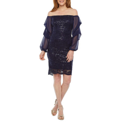 Blu Sage Off The Shoulder Sequin Lace Sheath Dress